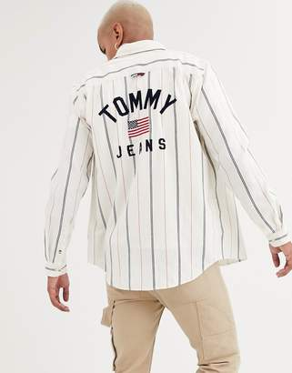 Tommy Jeans denim shirt in white with stripe detail