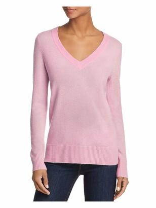 Aqua Womens Pink Ribbed Solid Long Sleeve V Neck Sweater UK Size:8