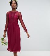 TFNC Tall Tall lace detail bridesmaid midi dress in burgundy