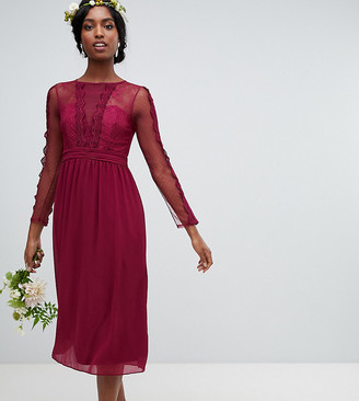 TFNC Tall lace detail bridesmaid midi dress in burgundy