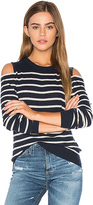 Autumn Cashmere Cold Shoulder Stripe Sweater in Navy. - size M (also in S)