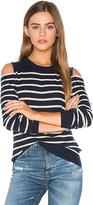Autumn Cashmere Cold Shoulder Stripe Sweater