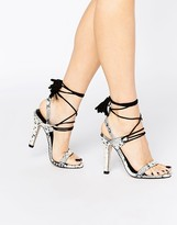 MANGO Snake Effect Lace Up Heels