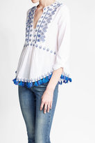 Kas Embroidered Cotton Top with Tassels