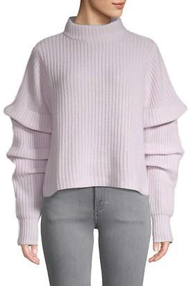 Autumn Cashmere Ruffle-Sleeve Mockneck Cropped Sweater