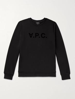 A.P.C. Logo-Flocked Melange Loopback Cotton-Jersey Sweatshirt