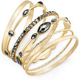INC International Concepts Gold-Tone 6-Pc. Set Hematite Stone Bangle Bracelets, Created for Macy's