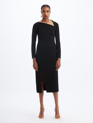 Oscar de la Renta Asymmetric Midi Dress
