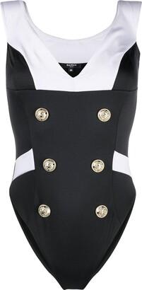 Balmain Double-Buttoned Sailor Swimsuit