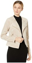Calvin Klein Suede Jacket with Seams and Zippers (Latte) Women's Coat