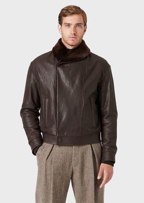 Giorgio Armani Leather Blouson With Sheepskin Collar