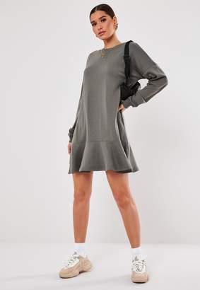 Missguided Dark Grey Frill Hem Sweater Dress