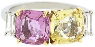 Bayco 18kt white gold diamond sapphire Cushion ring