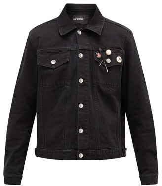 Raf Simons Badge-embellished Cropped Denim Jacket - Mens - Black