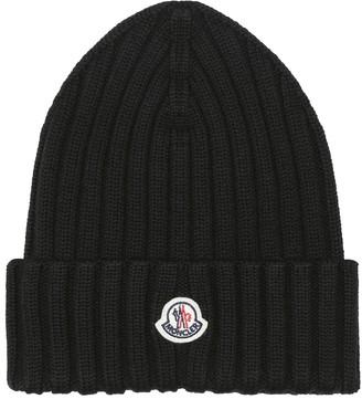 Moncler Logo ribbed-knit wool beanie
