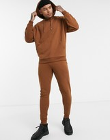 Asos Design DESIGN oversized tracksuit with hoodie in brown