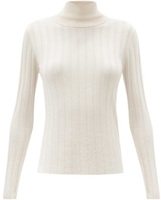 Allude Roll-neck Wide-rib Wool Sweater - Cream