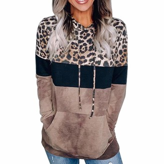 DOMBX Womens Hooded Hoodie Long Sleeve Patchwork Leopard Print Sweatshirt Pullover with Kangaroo Pockets Drawstring Women's Elegant Basic Cotton Linen Loose Sweater Jumper Tunic Tops Blouse Shirts