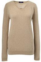 Classic Women's Petite Supima Shirred V-neck Sweater-Ivory