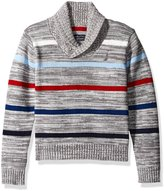 Nautica Big Boys Shawl Collar 'Merry Mariner' Striped Sweater With Button Closure