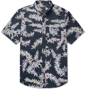 Club Monaco Slim-Fit Button-Down Collar Printed Cotton-Poplin Shirt