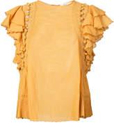 Sea ruffle sleeve T-shirt