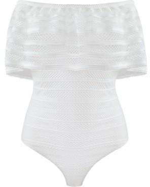 BCBGMAXAZRIA Ruffled Striped-Lace Bodysuit