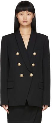 Balmain Black Grain De Poudre Oversized 6-Button Blazer