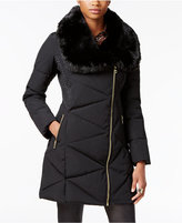 GUESS Asymmetrical Faux-Fur-Collar Puffer Coat