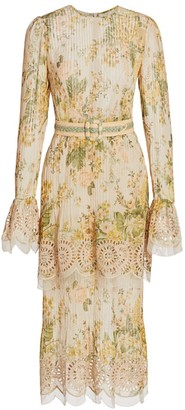 Zimmermann Amelie Floral Pintuck Midi Dresss