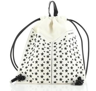 Jimmy Choo Marlon Biker Drawstring Backpack Star Studded Leather Medium