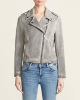 Bagatelle Grey Faux Suede Garment Wash Biker Jacket