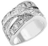 Michela Crystallized Silvertone Interwoven Ring