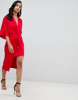 Asos Design DESIGN satin knot front kimono midi dress-Red
