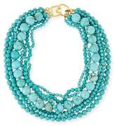 "Kenneth Jay Lane Stabilized-Turquoise Bead Multistrand Necklace, 18""L"