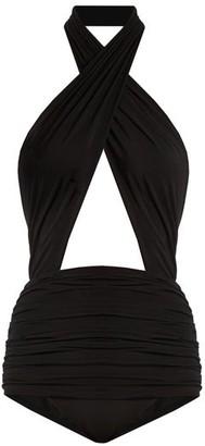 Norma Kamali Mio Halterneck Swimsuit - Womens - Black