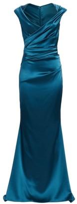 Talbot Runhof Cap Shoulder Ruched Satin V-Neck Mermaid Gown