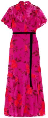 Erdem Celestina Velvet-trimmed Embroidered Silk-organza Maxi Dress