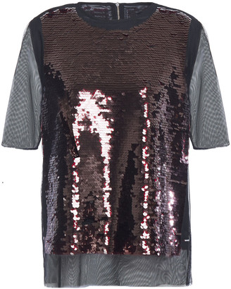 McQ Sequined Tulle Top