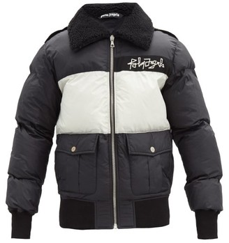 Palm Angels Logo-embroidered Fleece-collar Down Jacket - Black White