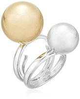 Kenneth Jay Lane Silver Band Double Gold/Silver Polished Ball Adjustable Ring, Size 5-7