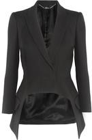 Alexander McQueen Asymmetric Wool And Silk-blend Crepe Blazer - Black