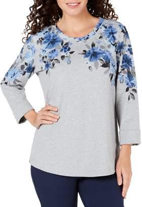 Karen Scott Petite Floral-Print Stretch Sweatshirt