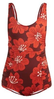 Dodo Bar Or Adinna Scoop-back Floral-print Swimsuit - Womens - Burgundy Print