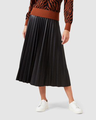 French Connection Leather Look Pleated Midi Skirt