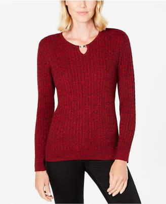 Karen Scott Cotton Cable-Knit Keyhole Sweater