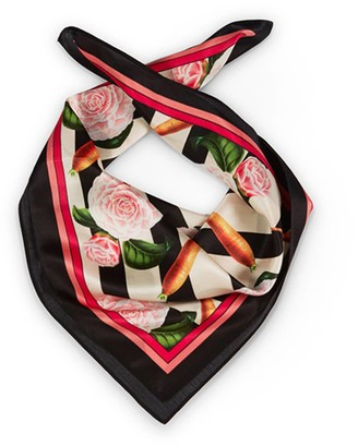 Texas And The Artichoke Medium Carrots & Roses Silk Scarf