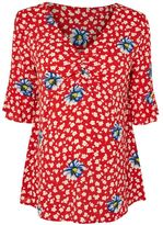 Topshop Maternity floral ruched blouse