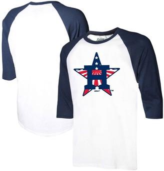 Stitches Men's White/Navy Houston Astros Stars & Stripes Americana Raglan 3/4-Sleeve T-Shirt