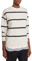 Brunello Cucinelli Monili-Stripe Cashmere Sweater, Beige